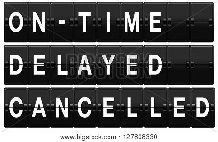 Airport split-flap board with on time, delayed and cancelled text