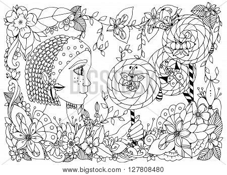 Vector illustration zentangl girl child with freckles holding a lollipop. Doodle frame flower, butterfly garden, African braids. Coloring book anti stress for adults. Black and white.