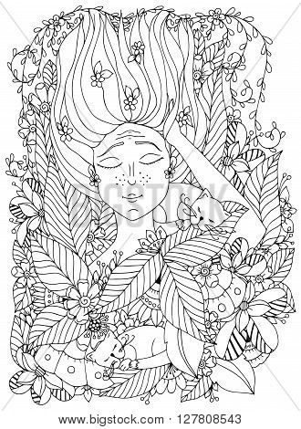 Vector illustration zentangl girl child with freckles is sleeping with cats in the flowers. Doodle drawing, bloom, forest, garden. Coloring book anti stress for adults. Black and white.