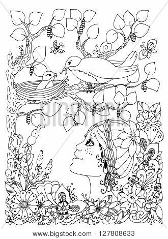 Vector illustration zentangl girl child with freckles looks at the bird nest. Doodle flowers frame wood. Coloring book anti stress for adults. Black and white.