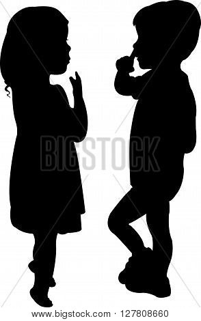 two children silhouette on white background vector