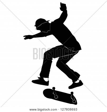 Young man riding a skateboard in black and white tone