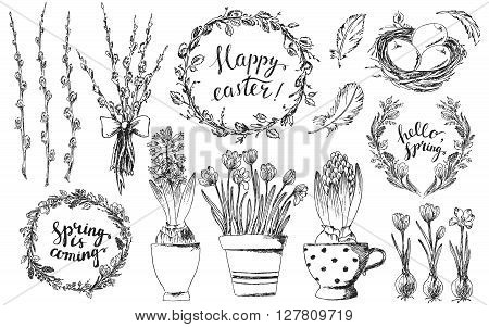 Hand drawn easter design elements set. Easter wreath easter willow bouquet pot of hyacinth and crocus bird nest easter eggs flower wreath bird feathers. Happy easter hand lettering.