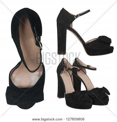 suede black female sandals isolated on white