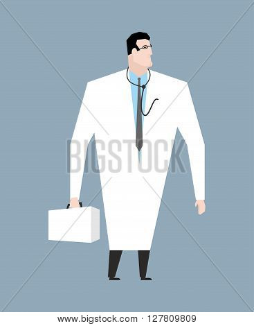 Doctor In White Coat. Doc With Stethoscope. Medical Worker With Glasses. Young Man In White Coat. Do