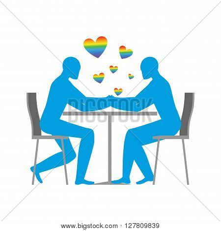 Gays In Cafe. Rainbow Heart - Symbol Of Lgbt Love. Two Blue Men Sitting At Table. Lovers In The Rest