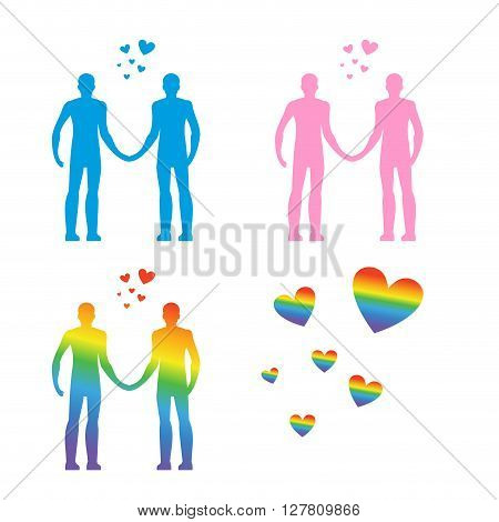 Lgbt Silhouettes. Same-sex Love. Gays And Lesbians. Blue And Pink People. Heart Rainbow -