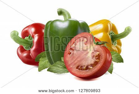Red yellow green bell sweet pepper tomato herbs isolated on white background as package design element