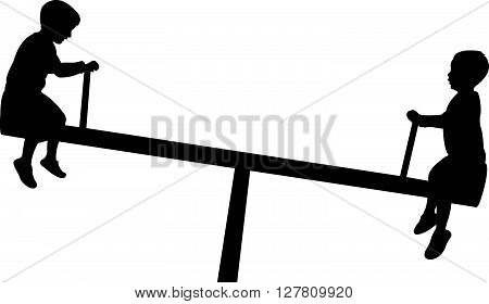 children playing, seesaw, black color silhouette vector