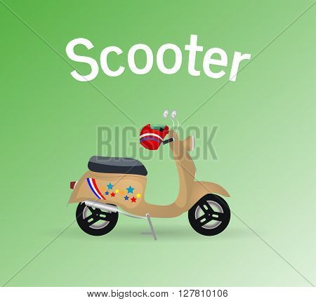 Old scooter motor object emblem retro icon