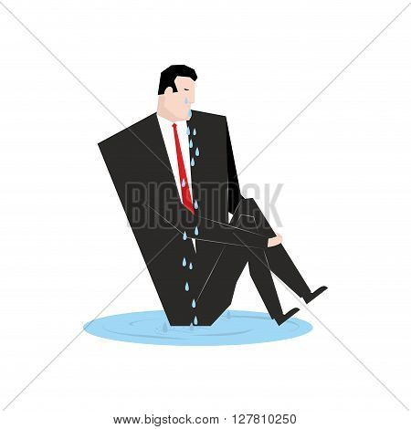 Businessman Cries. Boss  In Puddle Of Tears. Tosca And Sob Manager. Sad Man. Abandoned, Nobody Wante