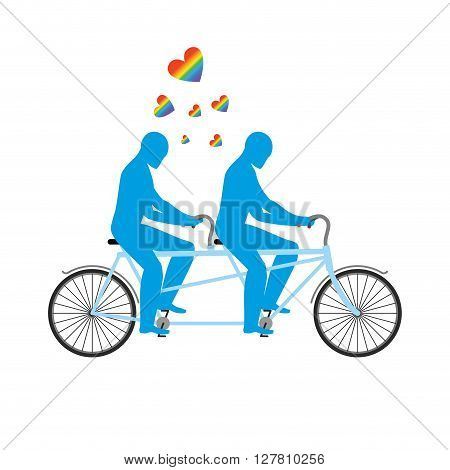 Gays In Tandem. Two Blue Men On Bicycle. Lovers Of Cycling. Joint Walk. Romantic Date. Heart Rainbow