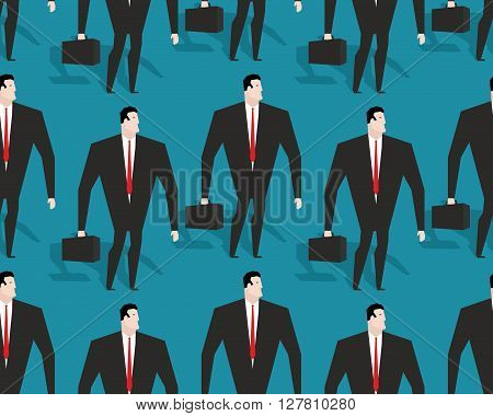 Businessman At Work Seamless Pattern. Manager Casey Ornament. Man In Black Suit Background
