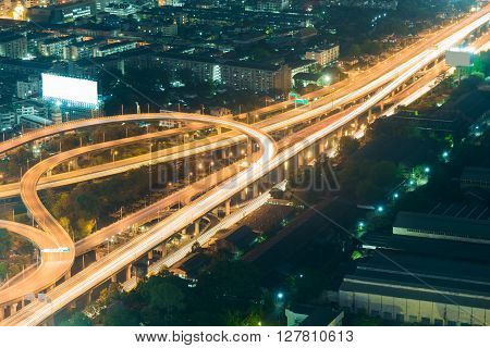 Aerial view night lights Highway road top view night time
