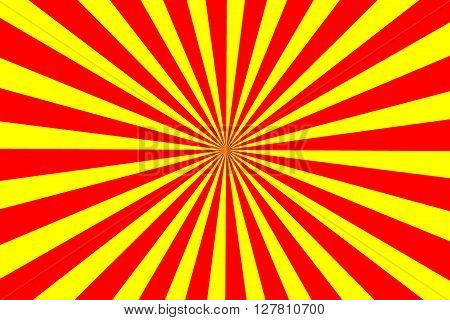Illustration of red and yellow rays from the center