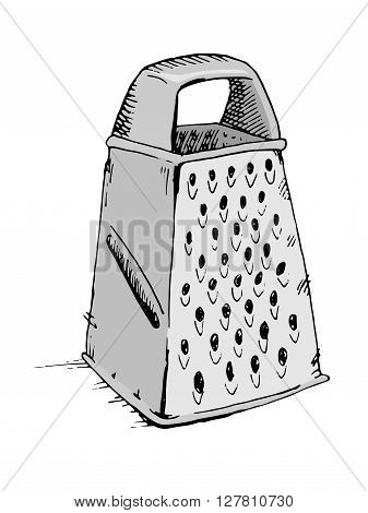 Vector grater icon. Hand drawn stock illustration