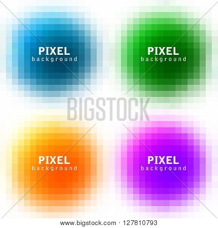 Set of abstract pixel colorful backgrounds vector illustration