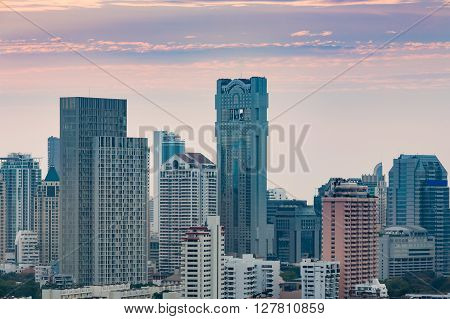 Close up office building city downtown, Bangkok Thailand during twilight