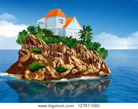 home at tropical rocky island in the sea