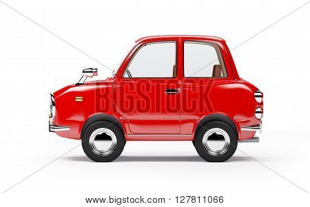 retro car red side view in 60s style isolated on a white background. 3d illustration.