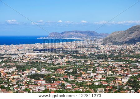 Aerial view of Palermo from Monreale. Sicily. Italy.