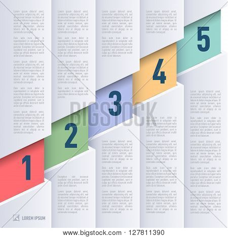 Infographics in paper style with ascending colored numbered items from one to five