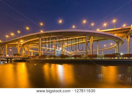 Industrial Ring Road Bridge waterfront at twilight, Bangkok Thailand