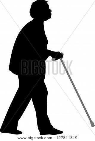 an old woman walking with baton, silhouette vector