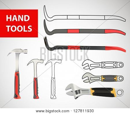 Construction hand tool collection - vector silhouette. naildrawer, nail puller, nail extractor, claw, nail-catcher, tack drawer