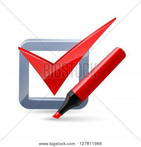 red felt-tip pen and tick mark icon isolated on white background-concept vector ilustration