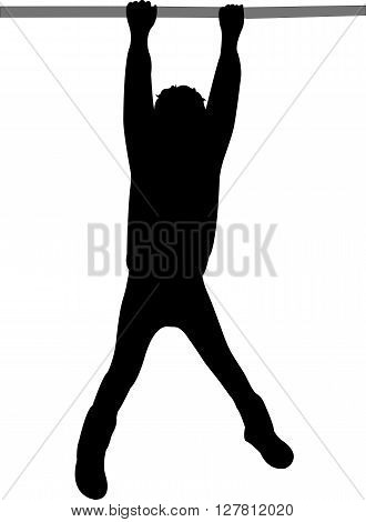 a swinging girl body, silhouette vector artwork