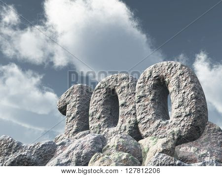 number one hundred rock under cloudy blue sky - 3d illustration