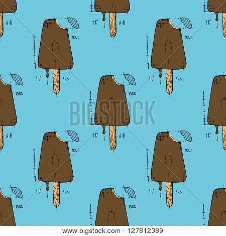 Ice cream. Hand drawn stock illustration. Seamless background pattern