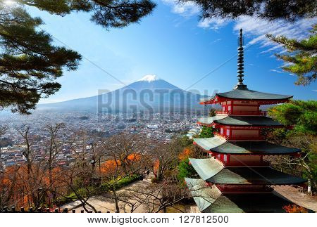 Mt fuji with red pagoda in autumn Fujiyoshida Japan