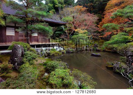 Japanese Garden in Ginkakuji Temple Kyoto Japan