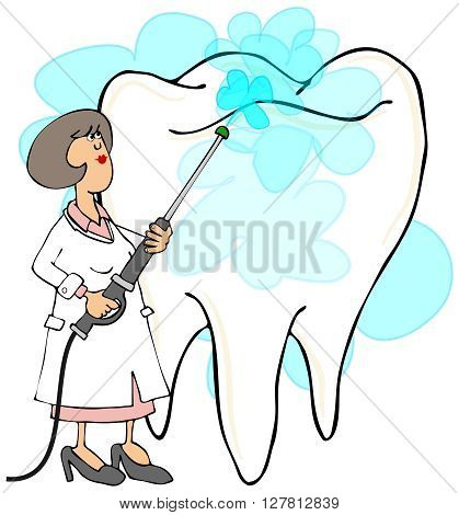 Illustration depicting a female dentist cleaning a giant molar with a pressure washer.