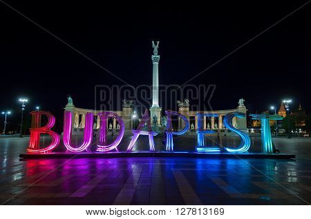 Lighting wooden installation of letters forming the word Budapest on Heroes' Square, on April 18 , 2016 in Budapest, Hungary. The attraction related to and promote Budapest Spring Festival.