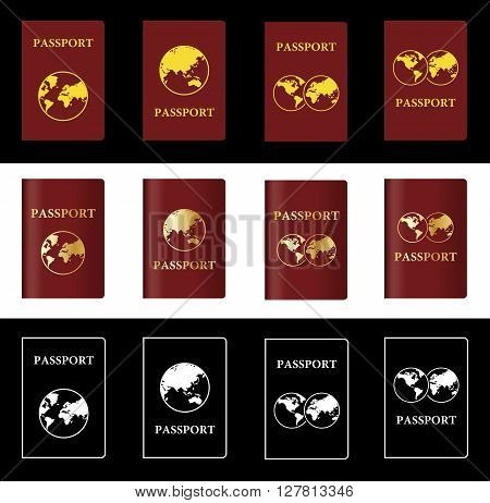Four Different Vector Maroon Passport with Globe