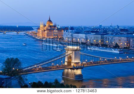 Chain Bridge and Parliament Building from Buda Castle, Budapest, Hungary