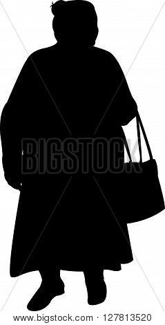 old fat turkish lady black color silhouette