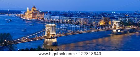 Skyline of Budapest City with Chain Bridge and Parliament Building, Budapest, Hungary