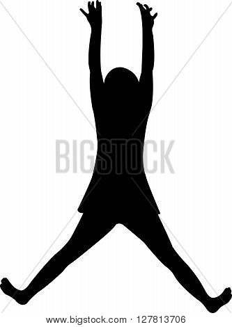a hanging girl body black color silhouette vector
