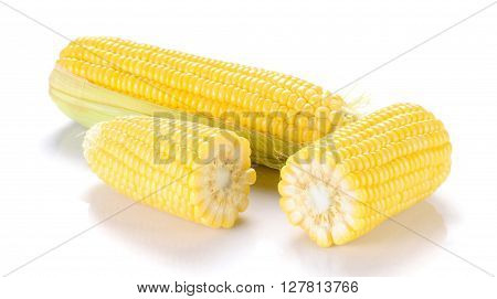Corn , Corn cut half isolated on white background.