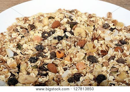 Dried Muesli with a mix of healthy fruit nuts and seeds.