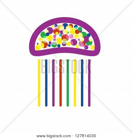 Cute jellyfish with bright dots inside. Stylized vector image of jellyfish