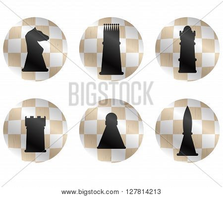 Chess figures icon set. Cheese strategy and chess pieces chess king and playing chess game king and queen bishop and knight or pawn and rook. Vector flat design illustration
