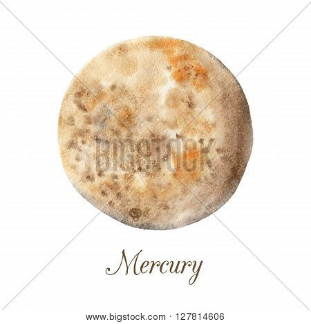 Planet Mercury. Watercolor illustration isolated on white background