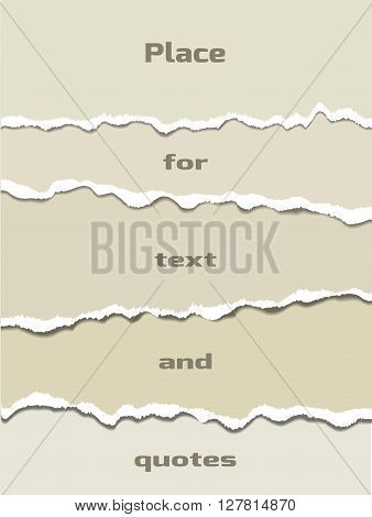 Several layers of ripped paper using as a background. Vector ripped paper elements.