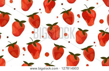 Seamless pattern with watercolor stylized strawberries. Vector image. Red strawberries on white