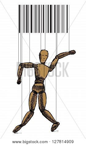 Wooden puppet on white background. Vector stock illustration